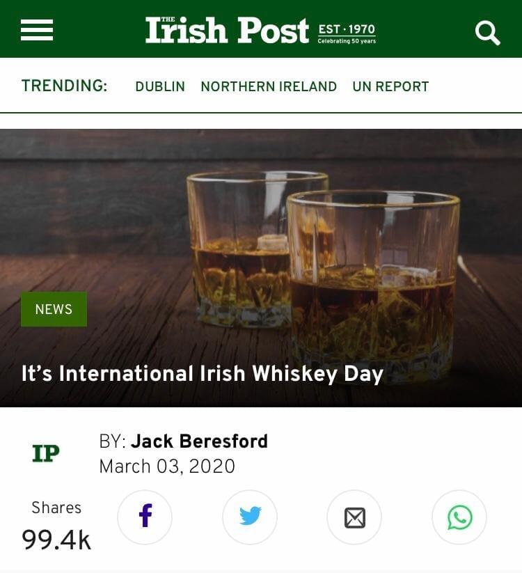 International Irish Whiskey Day #irishwhiskeyday Irish Whiskey Blogger Stuart McNamara