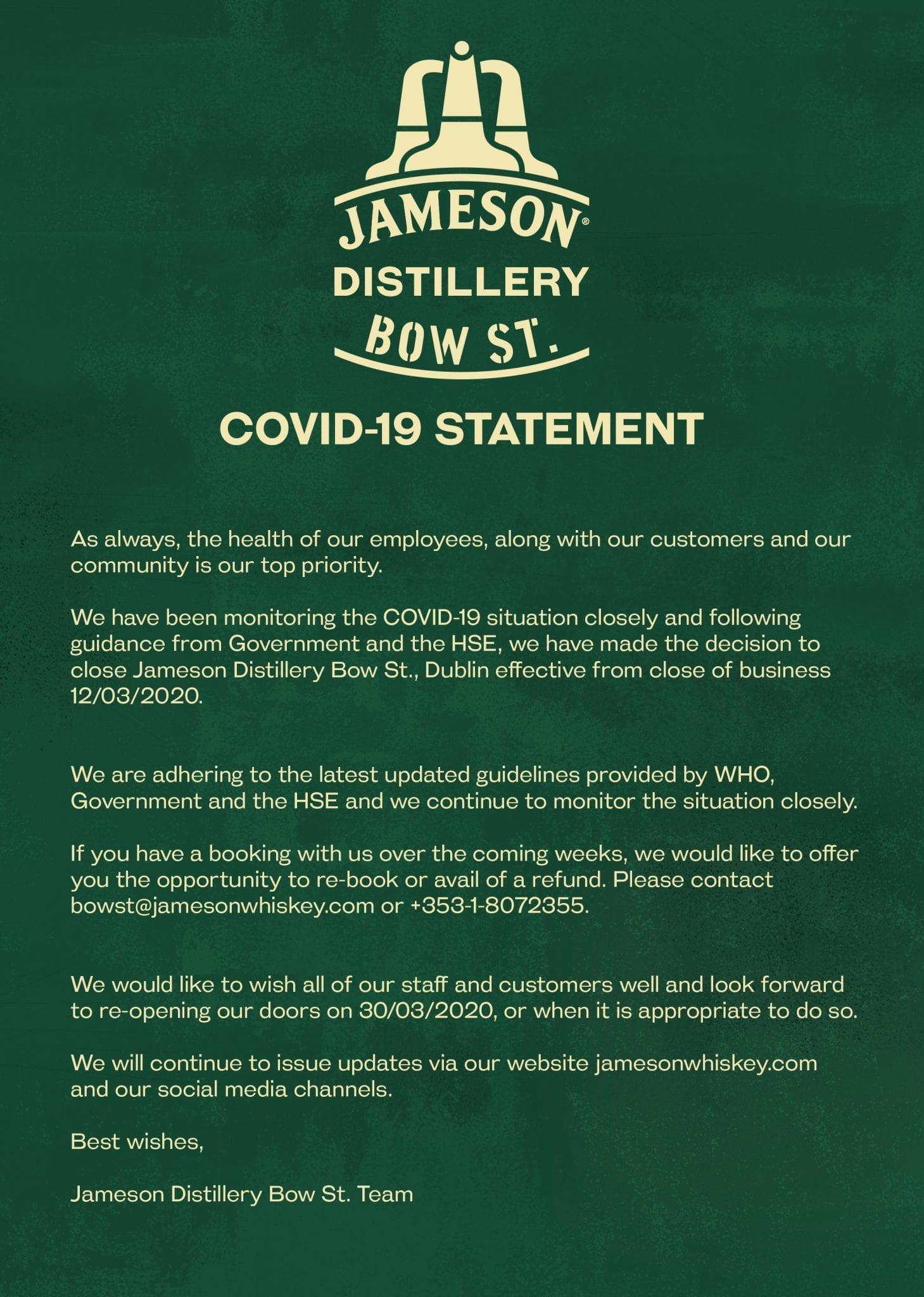 CoVid Jameson Experience Closure Notice