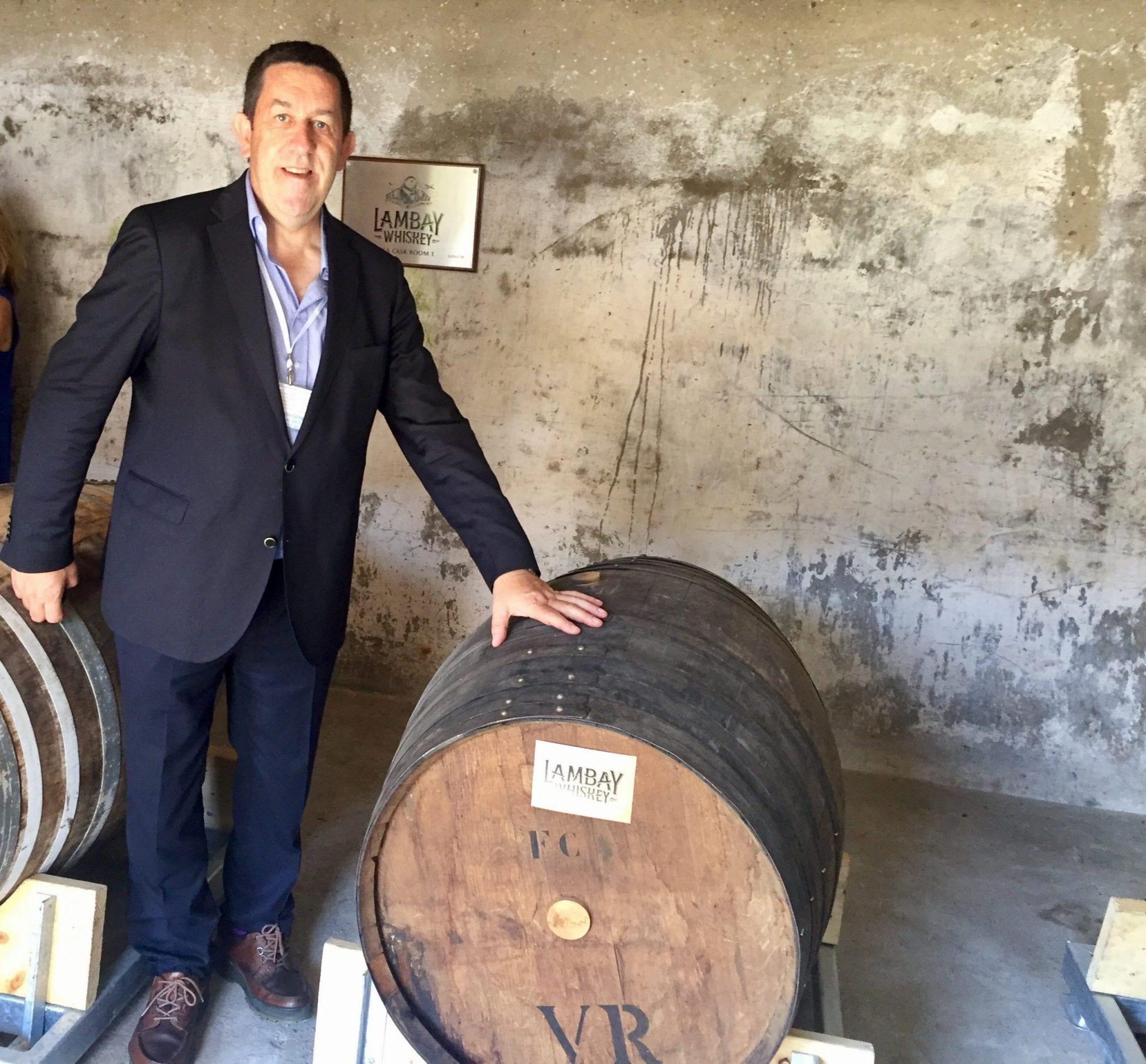 Stuart McNamara, Irish Whiskey Blogger in the Lambay Whiskey Sea Cask Room Lambay Island