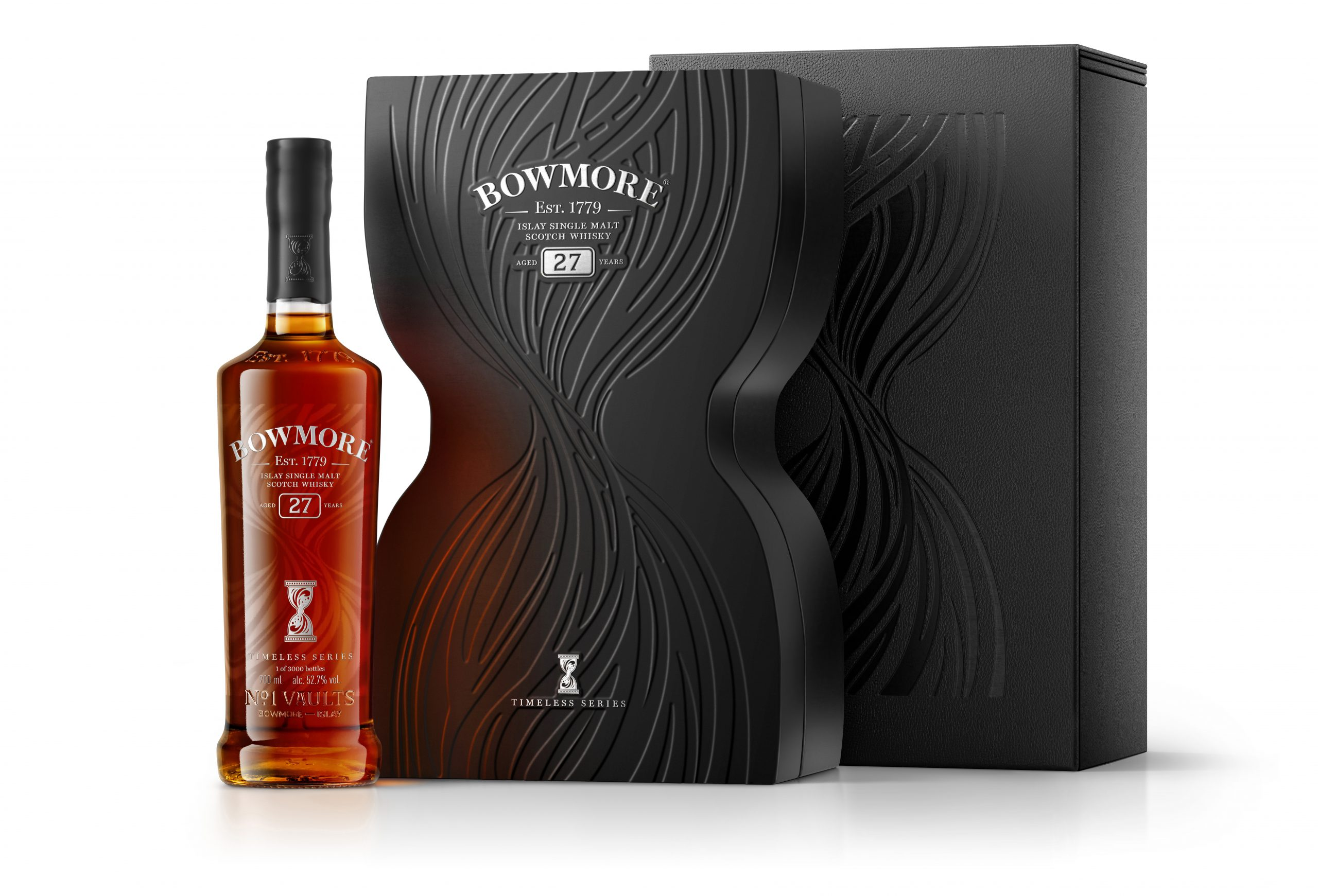 Bowmore 27 Timeless 700ml NO PROOF Bottle next to Inner Closed Box Tertiary Box v2 RGB300 scaled