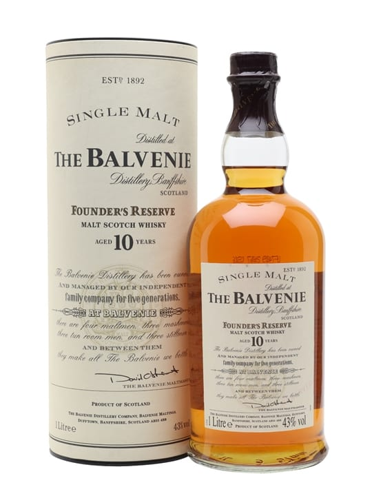 Balvenie 10 Year Old / Founder's Reserve / Litre Speyside Whisky