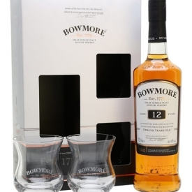 Bowmore 12 Year Old Glass Pack Islay Single Malt Scotch Whisky