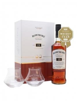 Bowmore 15 Year Old + 2 Glasses Set Islay Single Malt Scotch Whisky