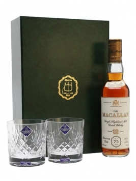 Macallan 12 Year Old & 2 Glasses / Muntons 75th Anniversary Speyside Whisky